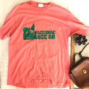 Vintage paper thin Mackinac T Shirt Pink Green XL